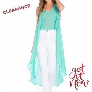 Mint Green Hi-Low Sleeveless Boho Inspired Tunic